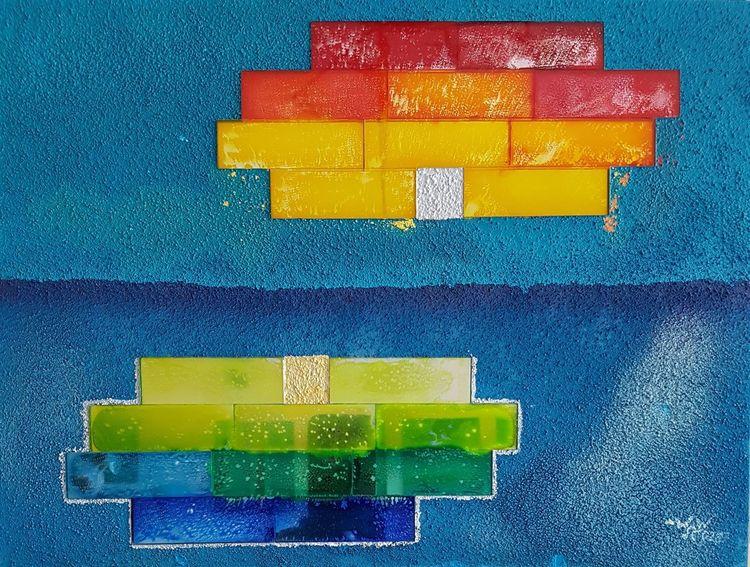 Abstrakt, Gemälde, Mischtechnik, Spiegel