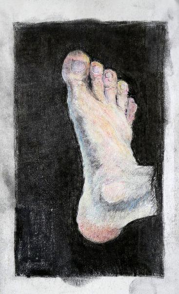 Fuß, Farben, Studie, Buntstiftzeichnung, Zeichnungen