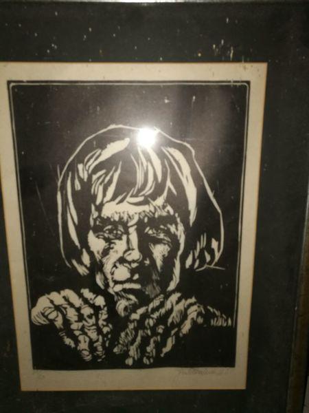 Holzdruck, Schwarz weiß, Portrait, Druckgrafik, Suche,