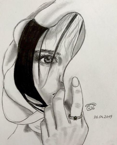 Wimpern, Zeichnung, Sketching, Licht, Kopftuch, Model