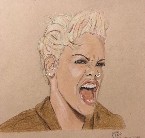 Polychromos, Pink, Zeichnung, Sänger, Berühmt, Portrait