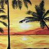 Leuchtend, Natur, Strand, Acrylmalerei