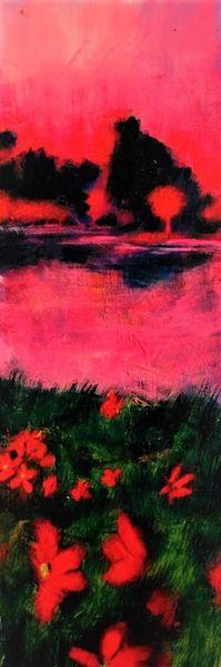 Landschaft, Wiese, See, Himmel, Wasser, Pink