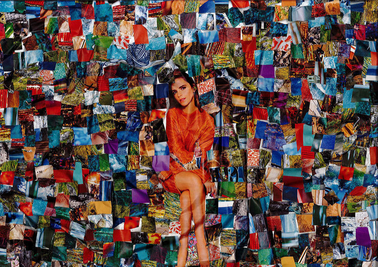 Collage, Bunt, Farben, Mischtechnik, Uhr, Kanal