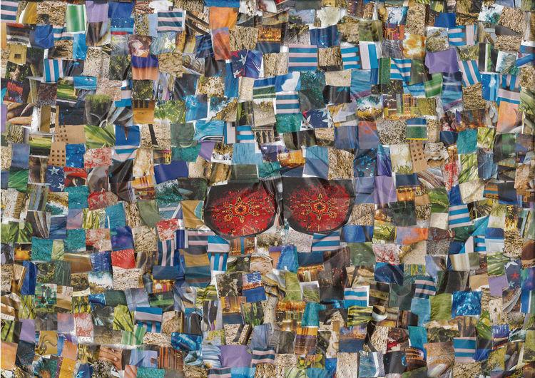Collage, Techno, Bunt, Farben, Blau, Mischtechnik