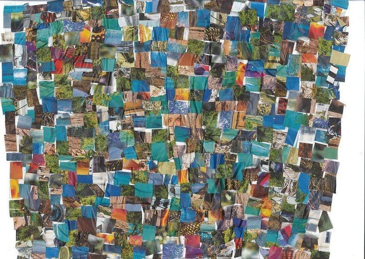 Collage, Bunt, Farben, Mischtechnik, Glück