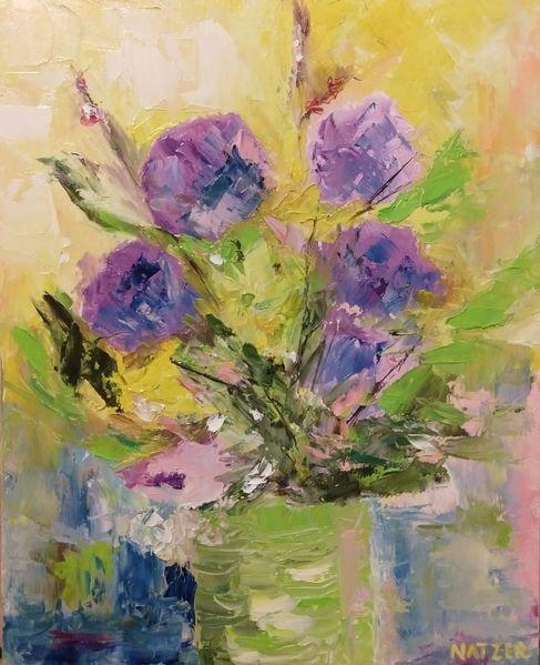 Vase, Lila, Freude, Gelb, Blumen, Grün