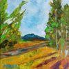 Baum, Sommer, Weg, Malerei