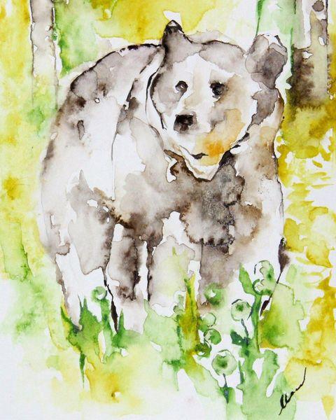 Realismus, Malerei, Expressionismus, Tiere, Bär, Aquarellmalerei