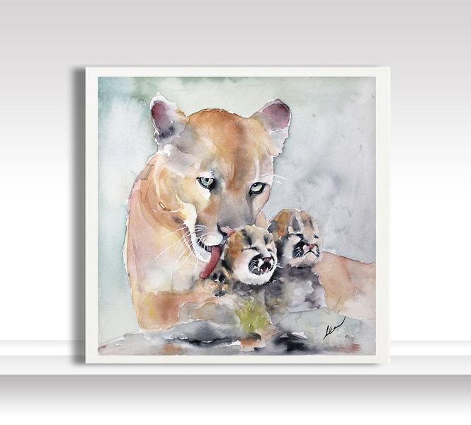 Realismus, Liebe, Malerei, Familie, Löwe, Tiere