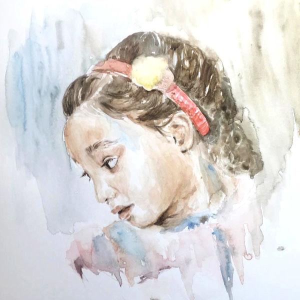 Kind, Stillleben, Realismus, Malerei, Menschen, Aquarellmalerei