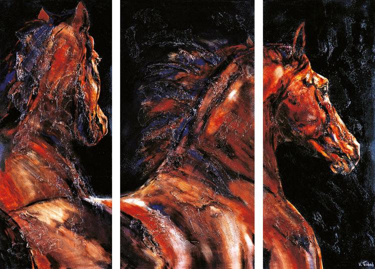 Pferde, Pferdeherde, Pferdeportrait, Malerei, Triptychon,