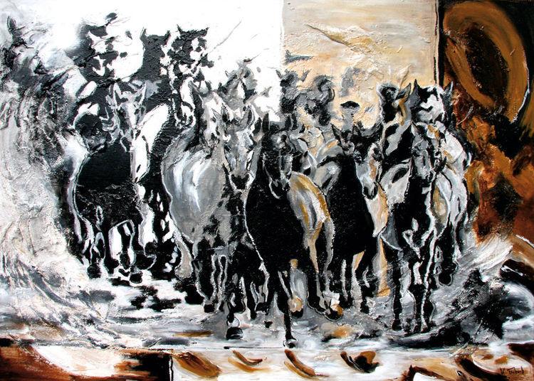 Pferde, Pferdeportrait, Pferdeherde, Tiere, Abstrakt, Malerei