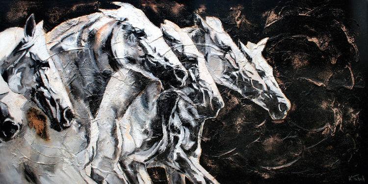 Pferde, Pferdeherde, Pferdeportrait, Tiere, Malerei,