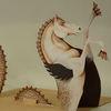 Tiere, Hippocampus, Pferde, Mischtechnik