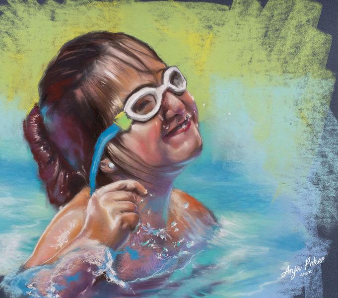 Sommer, Blau, Kinder, Sonne, Wasser, Malerei