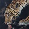 Fell, Leopard, Pastellmalerei, Malerei
