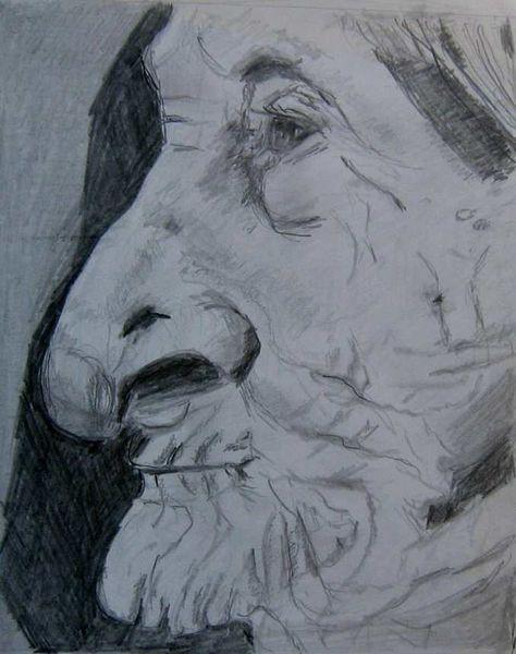 Oma, Frau, Bleistiftzeichnung, Portrait, Leben, Erfahrung