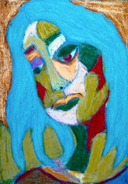 Pastellmalerei, Blau, Orange, Gelb, Frau, Grün