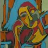 Mädchen, Abstrakt, Blau, Portrait