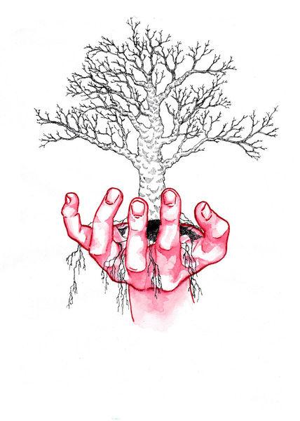 Surreal, Hand, Baum, Aquarell