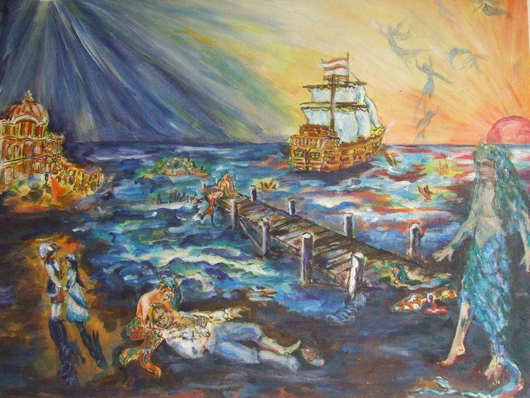 Meerjungfrau, Mann, Märchen, Nixe, Acrylmalerei, Malerei