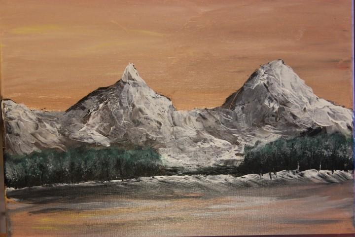 Malerei acryl, Berge, Schnee, Sonne, Landschaft, Malerei