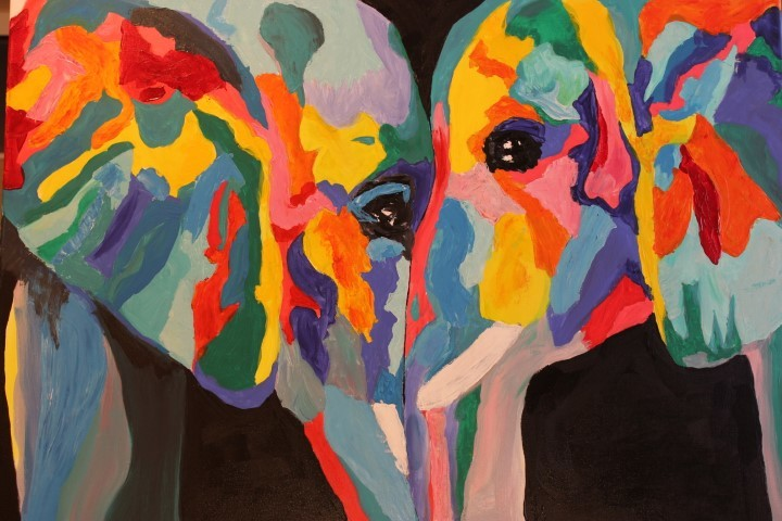 Tiere, Elefant, Bunt, Liebe, Malerei, Zärtlichkeit