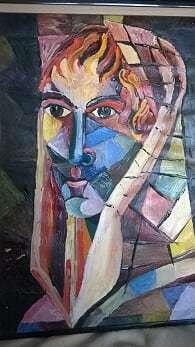 Portrait, Modern, Malerei, Malerei modern, Fragment,