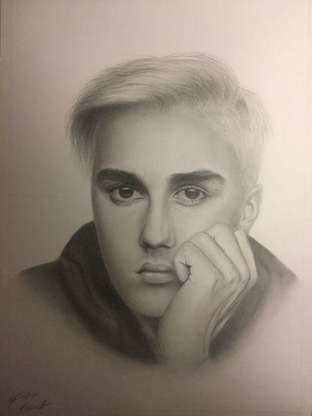Junge, Portrait, Mann, Schwarz, Grau, Justin bieber