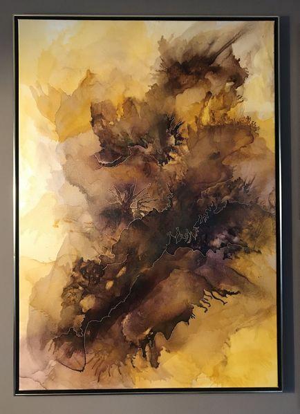 Braun, Bordeaux, Aquarellmalerei, Warme farben, Gelb, Modern