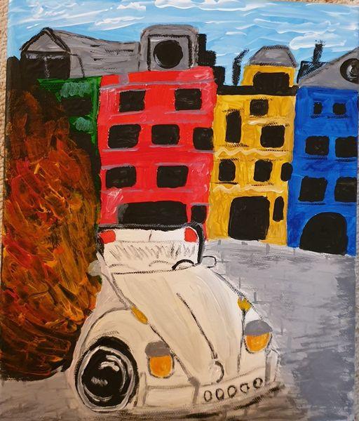 Auto, Acrylmalerei, Brand, Malerei, Käfer