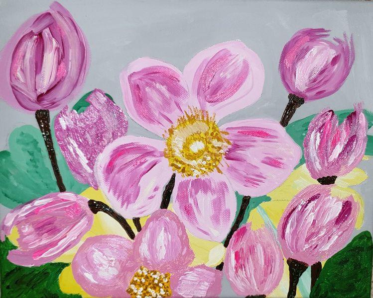 Acrylmalerei, Blumen, Pflanzen, Natur, Malerei, Garten