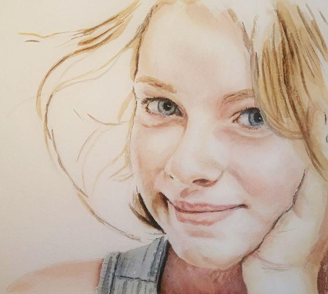 Mädchen, Gesicht, Augen, Portrait, Aquarell
