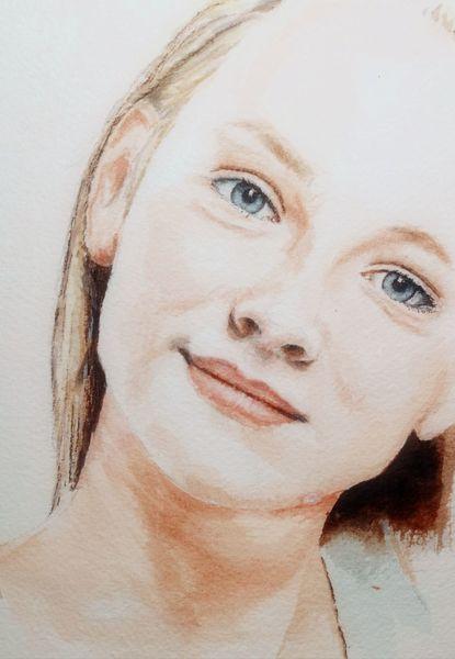 Gesicht, Augen, Portrait, Blick, Aquarell