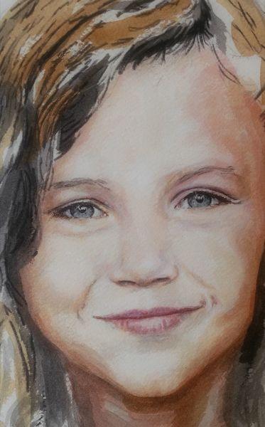 Portrait, Mädchen, Gesicht, Malerei