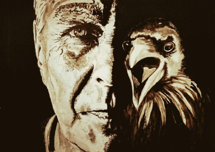 Mann, Poe, Rabe, Gesicht, Augen, Malerei