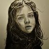 Monochrom, Portrait, Mädchen, Aquarell