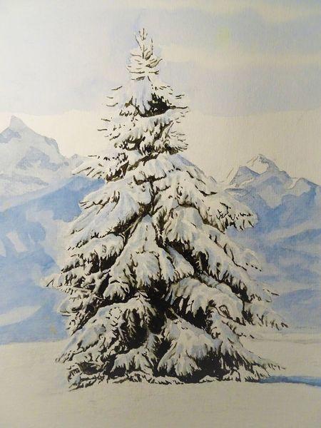 Aquarellmalerei, Landschaft, Winter, Tanne, Berge, Weiß