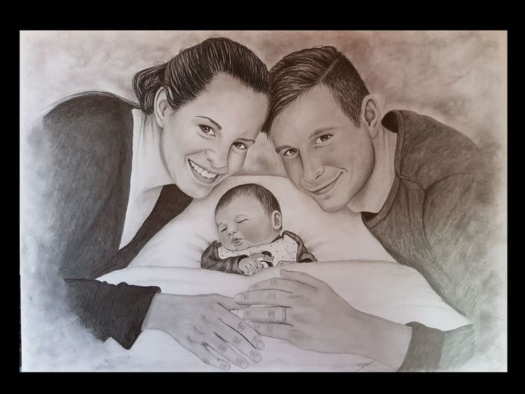 Menschen, Tochter, Haare, Zeichnung, Vater, Augen