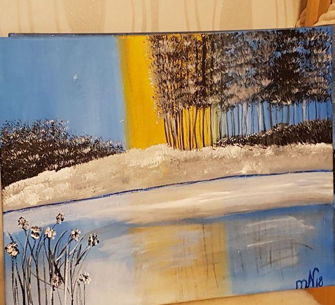 Eissee, Winterlandschaft, Acrylmalerei, Malerei, Winter