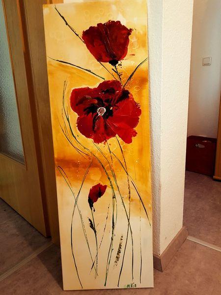 Mohnblumen, Acrylmalerei, Blumen, Malerei