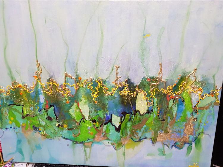 Umschlungene wege, Fantasie, Abstrakt, Malerei