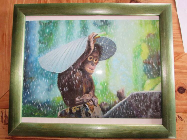 Schimpanse, Urwald, Öl auf karton, Affe, Regen, Regenwald