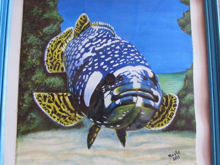 Zackenbarsch, Meeresgrund, Fisch, Malerei, Meine bilder,