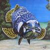 Zackenbarsch, Meeresgrund, Fisch, Malerei