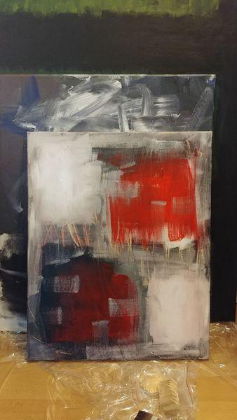 Abstrakte kunst, Malerei acryl, Schwarz, Modern art, Rot, Farbverlauf