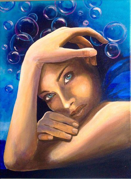 Blau, Menschen, Malerei acryl, Strand, See, Gemälde