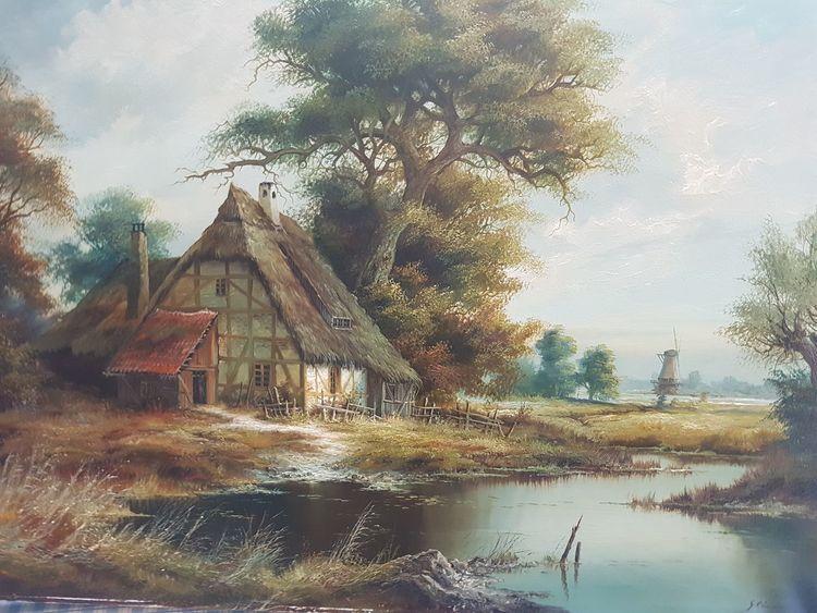 Gedeckt, Unbekannter maler, Landschaft, Haus, Malerei, Ried