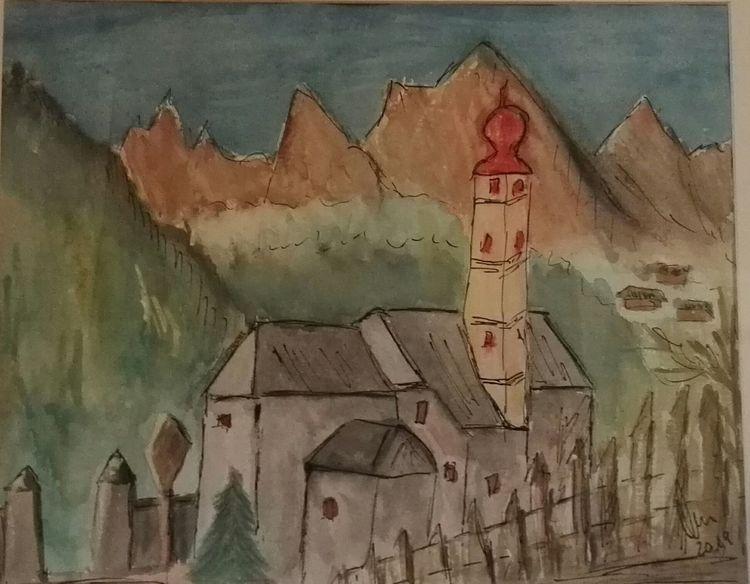 Berge, Dorf, Kirche, Aquarell,